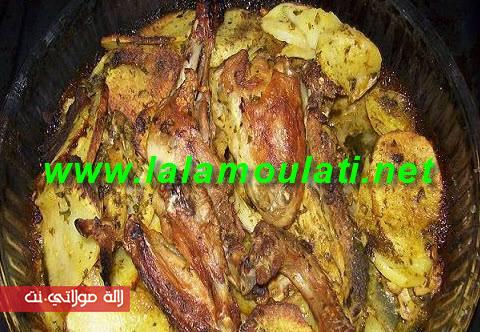 دجاج وبطاطس مشويين في الفر